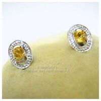 Kleine 10K Gold Ohrringe echter 0,25ct Citrin 416er Gelbgold Weißgold Ohrstecker