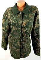 Susan graver green floral print corduroy spandex stretch button down jacket 3X