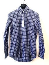 RALPH LAUREN Herren Langarm Hemd Button Down Shirt XS Kariert Blau Weiß