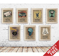 A3 A4 Size* HARRY POTTER Alternative Movie Posters * ALL SERIES Vintage Wall Art