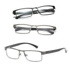 Mens Rectangular Stylish Metal Reading Glasses Readers 1.0 1.5 2.0 2.5 3.0 3.5