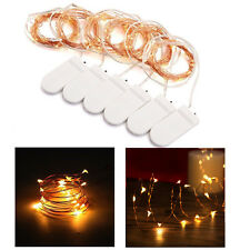 6x 20 LED String Fairy Lights Warm White Battery Powered Copper Wire Wedding Dec