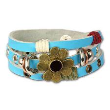 Modeschmuck-Armbänder aus Leder mit Türkis-Perlen