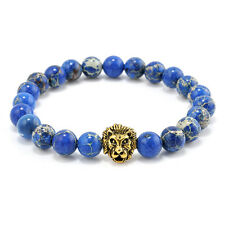 Fashion Mens Blue Sea Sediment Jasper Stone Gold Lion Beaded Charm Bracelet Gift