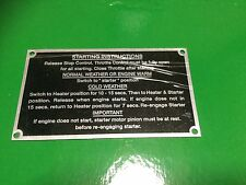 Massey Ferguson 35 Cold Start Instruction Plate