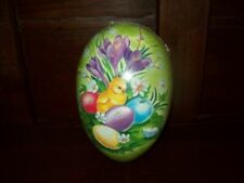 "NEW GERMAN PAPER MACHE FILLABLE NESTING EASTER EGG SMALL 41/2"" CHICK EGGS GREEN"