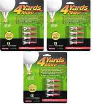 """4 Yards More Tees 3x Four Pack Red 1.75"""" 1 3/4"""" 12 Golf Tees Hybrid / Irons"""