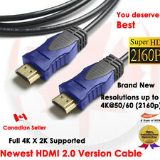 YellowKnife Premium 6 FT HDMI 2.0 Cable with Ethernet 24K Gold Plated - 4K X 2K