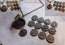Vintage medallion sternzeichen foto steampunk retro kette medaillon locket box