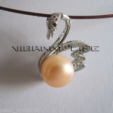 """18"""" 10.0-10.5mm Peach Pink Freshwater Pearl Necklace P1HC AC"""