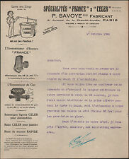 """PARIS (XVII°) USINE de LESSIVEUSE / ECONOMISEUR d'ESSENCE & GAZ """"P. SAVOYE"""" 1922"""