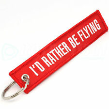 I'D RATHER BE FLYING KEYCHAIN KEY CHAIN LUGGAGE TAGS QTY= 1 PIECE RED/White NEW
