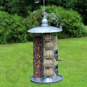 Hanging Wild Bird Feeder 3 in 1 Seed Nut Fat Ball Garden Feeding Station