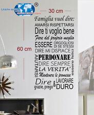 ADESIVI MURALI 30x60 ADESIVO MURO FRASI FRASE REGOLE DELLA CASA WALL STICKERS