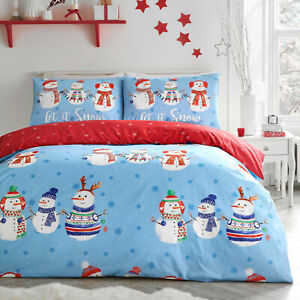 Dreams & Drapes Reversible Blue & Red Christmas Xmas Snowman Duvet Cover Bed Set