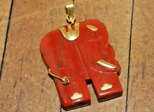 New Fine, Carved Stone Pendant with brass accents- 32mm - A313a+