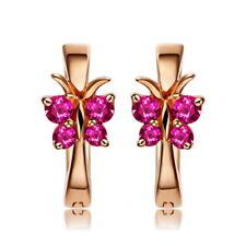 925 Sterling Silber Damen Kinder Ohrringe Creolen mit Schmetterling Kristall
