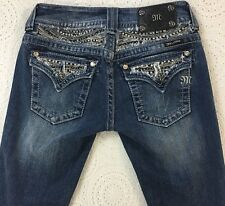 MISS ME Junior's Capri Blue Jeans Size 26 Sparkly Stones Studded Pockets CUTE!