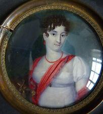 Peinture miniature d'époque 1er Empire Napoléon 1er Portrait de femme