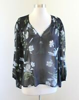 Joie Black Sheer Floral Print V-Neck Blouse Top Size S Blue Green Popover