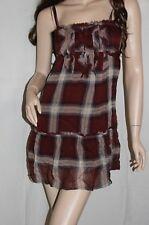 NWT ABERCROMBIE Womens Chiffon Ruffle Silk Spring Sun Dress Burgundy XS $78