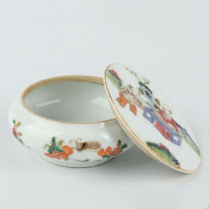 Antique Chinese Famille Rose Porcelain Box with Figures