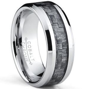 High Polish Cobalt Men's Wedding Band Engagement Ring W/ Gray Carbon Fiber Inlay