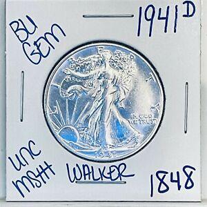 1941 D BU GEM LIBERTY WALKING SILVER HALF DOLLAR #1848 FREE SHIPPING UNC MS+++