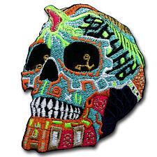 Aztec Warrior Sugar Mexican Skull Patch Iron On Vest Harley Biker Chopper Tribal