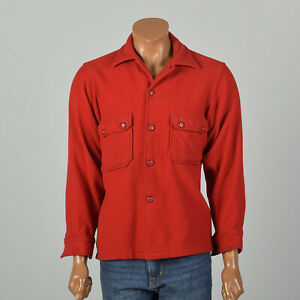 Large 1950s Shirt Boy Scouts of America Wool Button-Up Official Uniform VTG 50s