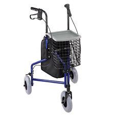Blue 3 Wheel Aluminum Walker Folding Medical Rollator Tray Basket Bag Hand Brake