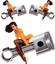 Pegatinas set pistón pin up girl 14x11cm piston babe decal US Hot Rod Tank casco