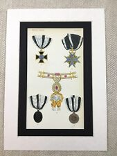 1858 Prussian Military Medals Red Eagle Iron Cross Old Chromolithograph Print