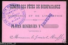 Dijon . comité des fêtes de bienfaisance . invitation au général Ruffey