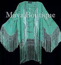 Embroidered Silk Fringe Jacket Kimono Tiffany Green Hand Dyed Maya Matazaro USA
