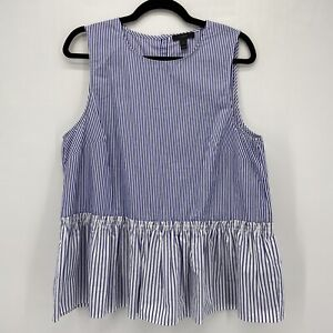 J Crew Blue and White Striped Button Back Sleeveless Peplum Top Large