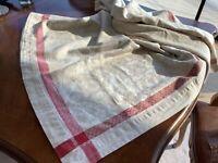 Williams Sonoma Jacquard Tablecloth 68X84 Cream/Red Orig. $199 Linen/Cotton NWOT