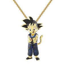 Custom Goku Pendant Dragon Saiyan Blue Simulated Diamond 14k Gold Finish Chain