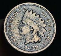 1859 Indian Head Cent Penny CN 1C FULL LIBERTY Civil War US Copper Coin CC4849