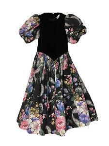Daisy Kingdom Girls 10 Dress Black Multicolor Floral Tulle Velvet Puff Sleeves