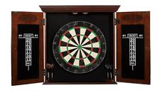 New Dark Wood Dartboard Cabinet Game W Self Healing Board Scoreboard Darts Set