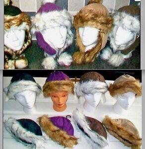 Ladies Girls Beanie Hats & Caps - Trapper with  Pom Poms Faux Suede & Fur Trim