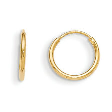 14K Yellow Gold Polished 9mm Endless Hoop Earrings Madi K Children's Jewelry