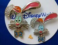 Who Framed ROGER Rabbit Jeweled Disney VINTAGE Lapel BROOCH Clasp Pin Set 2 HTF