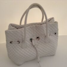 SONIA RYKIEL QUILTED LARGE WHITE LEATHER DRAWSTRING TOTE BAG & DUSTBAG