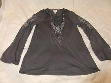 Knox Rose Gray w/ Embroidery Print Long Sleeve Tunic Shirt w/ Tie Neck Sz XS