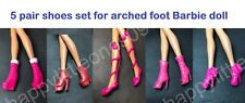 5 pair set Mattel Barbie Doll Shoes/Boots for Arched Foot for Barbie Dress New F