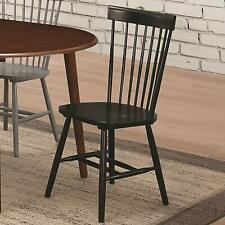 Emmett Dining Side Chairs in Black with Spindle Back (Set of 2)