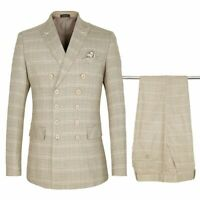 Khaki Plaid Suit Set For Men Formal Double Breasted Classic Smart Casual Clothes