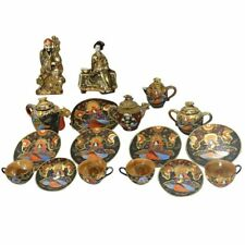 Meiji 21-Piece Japanese Satsuma Tea Service with figures of Kannon and Geisha